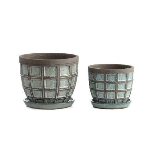 Dusk Block Planter w/ attchd saucer, Set of 2