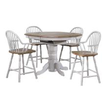 Product Image - Round or Oval Extendable Pub Table Set - Distressed Gray & Brown (5 Piece)