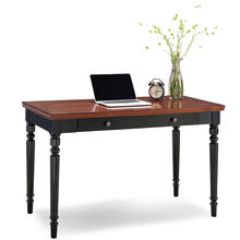 See Details - Farmhouse Turned leg Black Two-tone Laptop Desk with Center Drawer #83410
