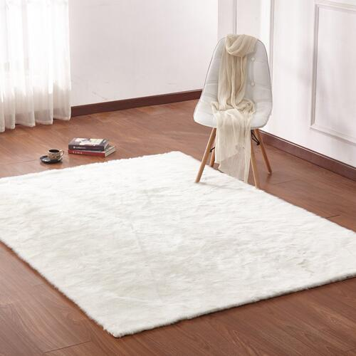 "Luxury Soft Faux Fur Sheepskin Area Rug by Rug Factory Plus - 7'6"" x 10'3"" / White"