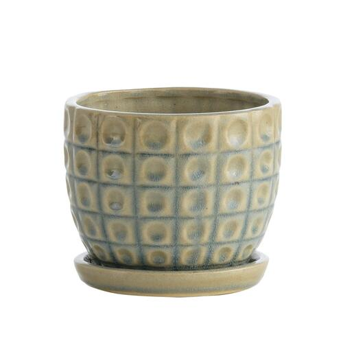 Blue Omni Petits Pots w/ attchd saucer, Set of 2