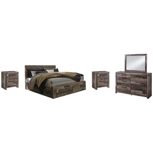 King Panel Bed With 4 Storage Drawers With Mirrored Dresser and 2 Nightstands