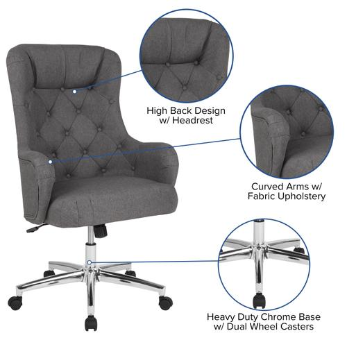 Gallery - Chambord Home and Office Upholstered High Back Chair in Dark Gray Fabric