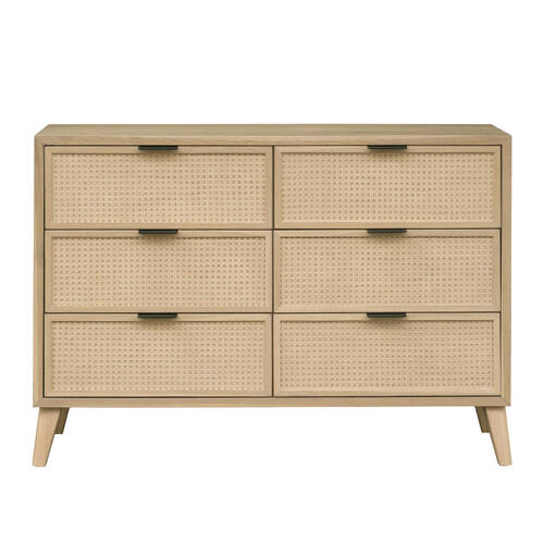 Cane Six Drawer Dresser in Brown
