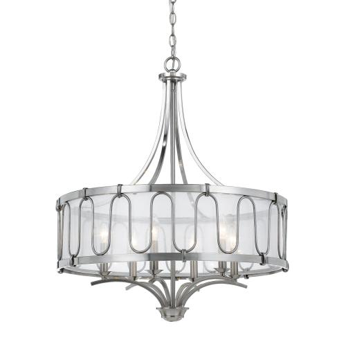 60W X 6 Vincenzametal Chandelier With Trasparent Fabric Shade