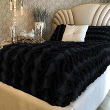"Soft Heavy Faux Fur Loufie Blanket/Coverlet by Rug Factory Plus - Cal King - 104"" x 93"" / Black"