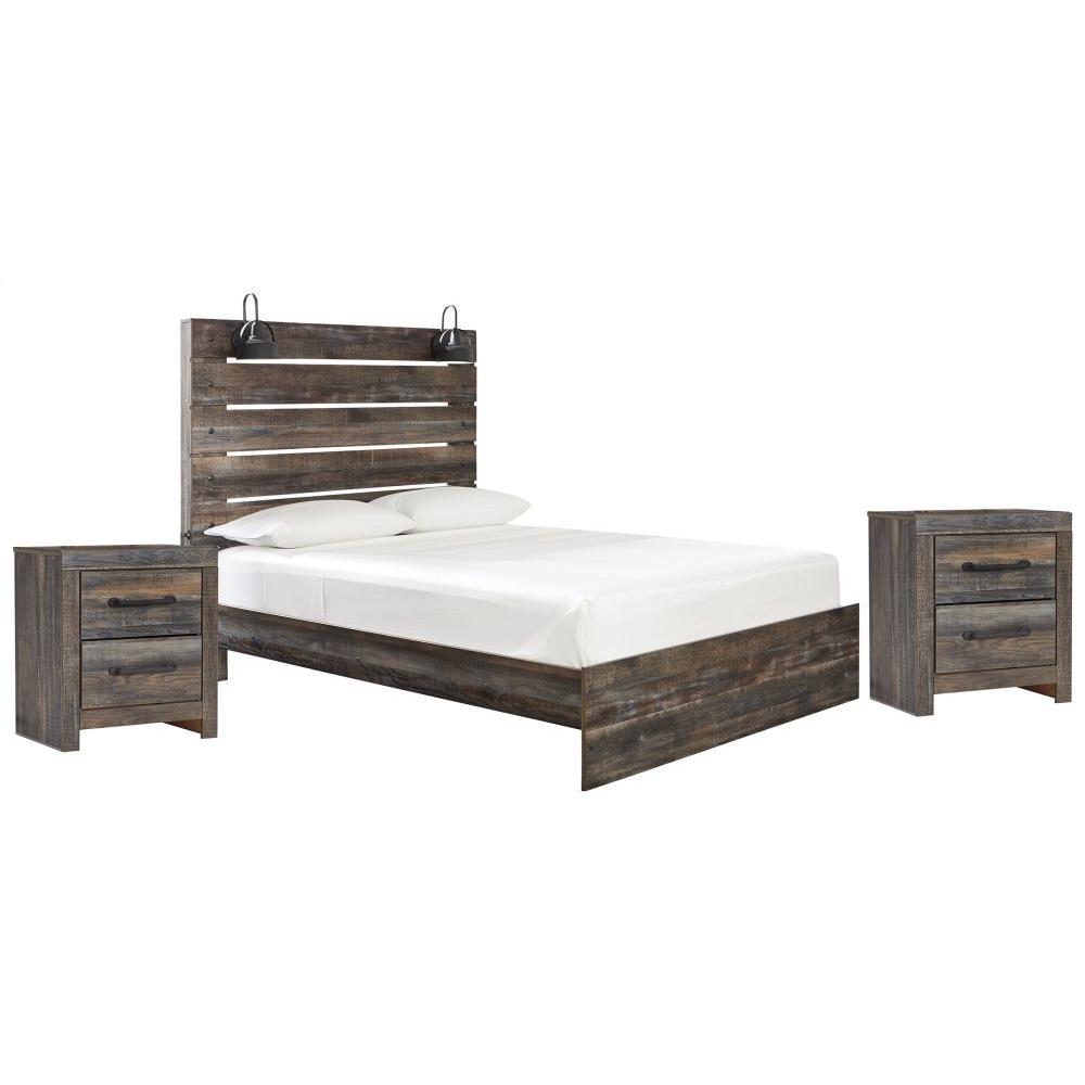 Queen Panel Bed With 2 Nightstands