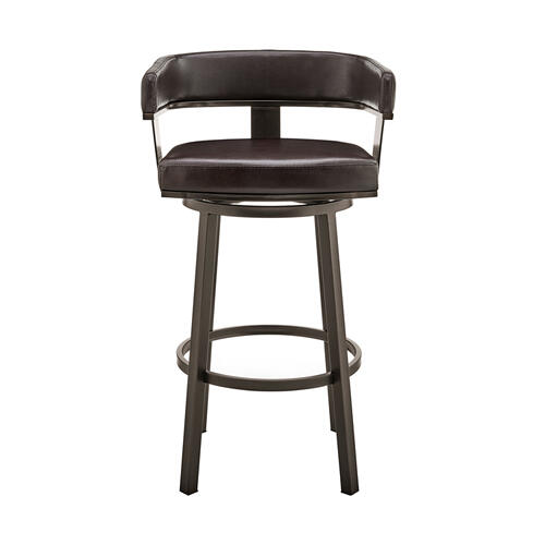 """Armen Living - Lorin 26"""" Counter Height Swivel Bar Stool in Java Brown Finish and Chocolate Faux Leather"""