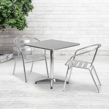 See Details - 27.5'' Square Aluminum Indoor-Outdoor Table Set with 2 Slat Back Chairs