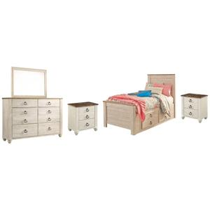 Twin Panel Bed With 2 Storage Drawers With Mirrored Dresser and 2 Nightstands