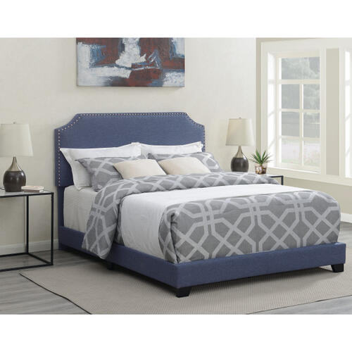 Clipped Corner Upholstered King Bed in Heathered Denim Blue