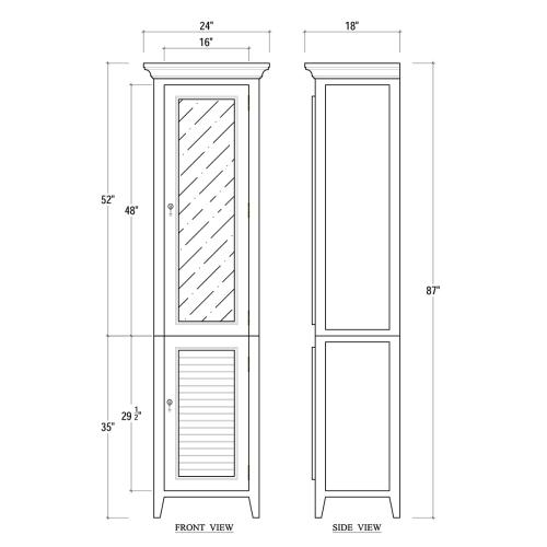 Shutter Tall Bath Cabinet w/ Mirror