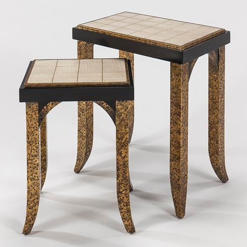 """Artmax - Nest Table with Glass - Set of 2 22x14.5x26"""" & 16x12x22.5"""""""