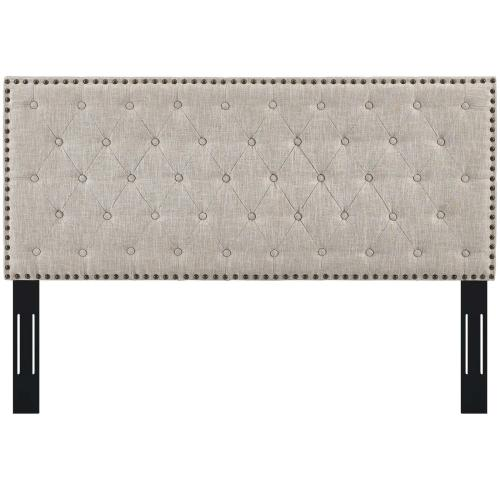 Helena Tufted King and California King Upholstered Linen Fabric Headboard in Beige