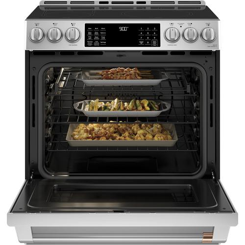"""Café 30"""" Slide-In Front Control Induction and Convection Range with Warming Drawer Stainless Steel"""