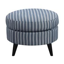 Oscar Round Ottoman, Blue Stripe U3538-03-14