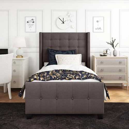 Accentrics Home - Twin Modern Wing Bed in Mink