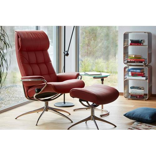 Stressless By Ekornes - Stressless London High Back Recliner and Ottoman with High Star Base