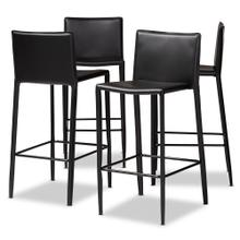 See Details - Baxton Studio Malcom Modern and Contemporary Black Faux Leather Upholstered 4-Piece Bar Stool Set