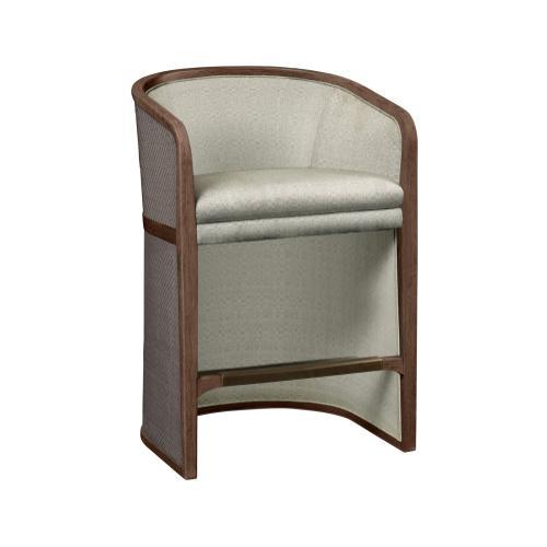 Walnut & Dark Grey Rattan Tub Counter Stool, Upholstered in Standard Outdoor Fabric