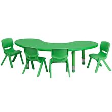 Product Image - 35''W x 65''L Half-Moon Green Plastic Height Adjustable Activity Table Set with 4 Chairs