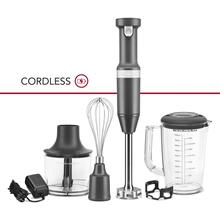 Cordless Variable Speed Hand Blender with Chopper and Whisk Attachment - Matte Charcoal Grey