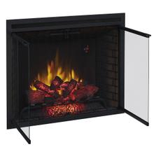 """See Details - 39"""" Traditional Built-In Electric Fireplace Insert with Glass Doors and Mesh Screen, Dual Voltage Option"""