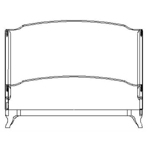 US Cali King Louis XV bed (Grey weathered/Velvet lime)