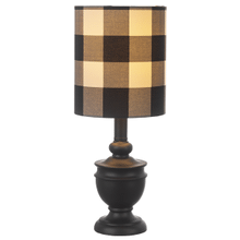 Black Mini Accent Lamp with Gingham Shade. 40W Max