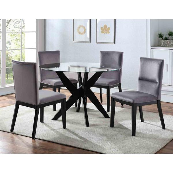 See Details - Amalie Grey Velvet 5 Piece Set (Glass Top Table & 4 Side Chairs)