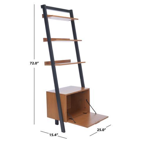 Lavina 3 Shelf 1 Door Etagere - Natural / Charcoal