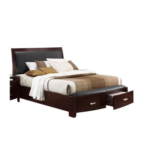 Queen Sleigh Platform Bed with Footboard Storage