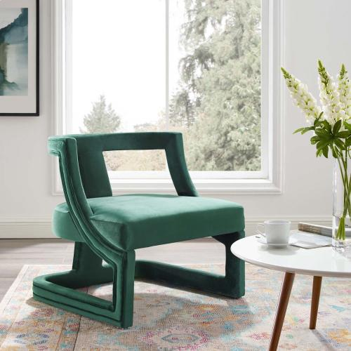 Modway - Requisite Accent Lounge Performance Velvet Armchair in Green