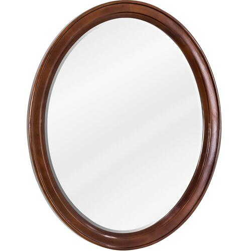 "22"" x 27-1/4"" Oval mirror with beveled glass and Mahogany finish."