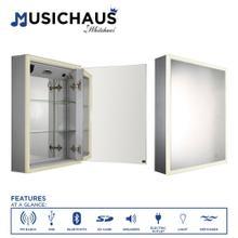 See Details - Musichaus Single Mirrored Door Medicine Cabinet with USB, SD Card, Bluetooth, FM radio, Speakers, Defogger, & Dimmer