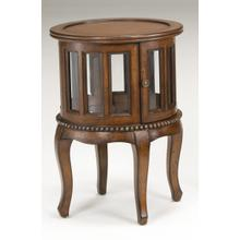 See Details - Warm Pecan Round Accent Table With Glass Panels