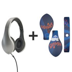 vLeve On-Ear Headphones (Satin Silver) + The Mowgli's Headphone Skin
