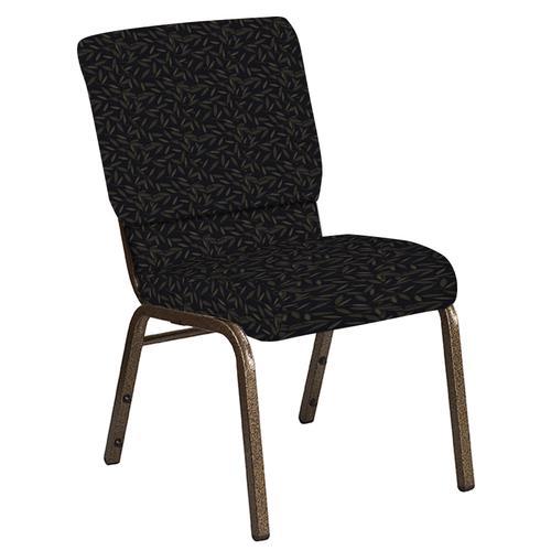 Flash Furniture - 18.5''W Church Chair in Jasmine Blissful Blue Fabric - Gold Vein Frame