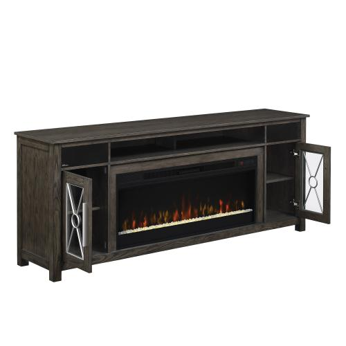 """Heathrow TV Stand with Two Speakers for TVs up to 80"""", Tifton Oak (Electric Fireplace sold separately)"""
