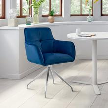 View Product - Noah Dining Room Accent Chair in Blue Velvet and Brushed Stainless Steel Finish