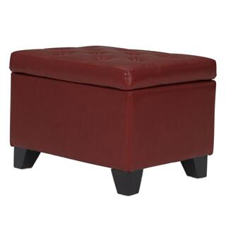 Julian Rectangular Bonded Leather Storage Ottoman, Pomegranate