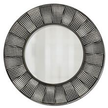 FLUID MECHANICS MIRROR  32w X 32ht X 2d  Transitional Round Aerated Wave Design Metal Wall Mirror