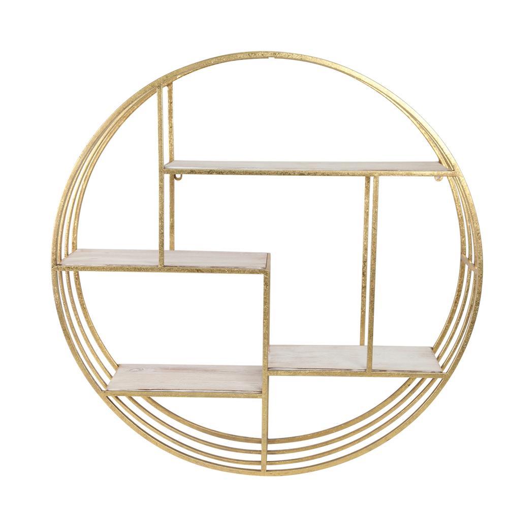"See Details - Round 31.5"" Wood/metal Wallshelf, Gold"
