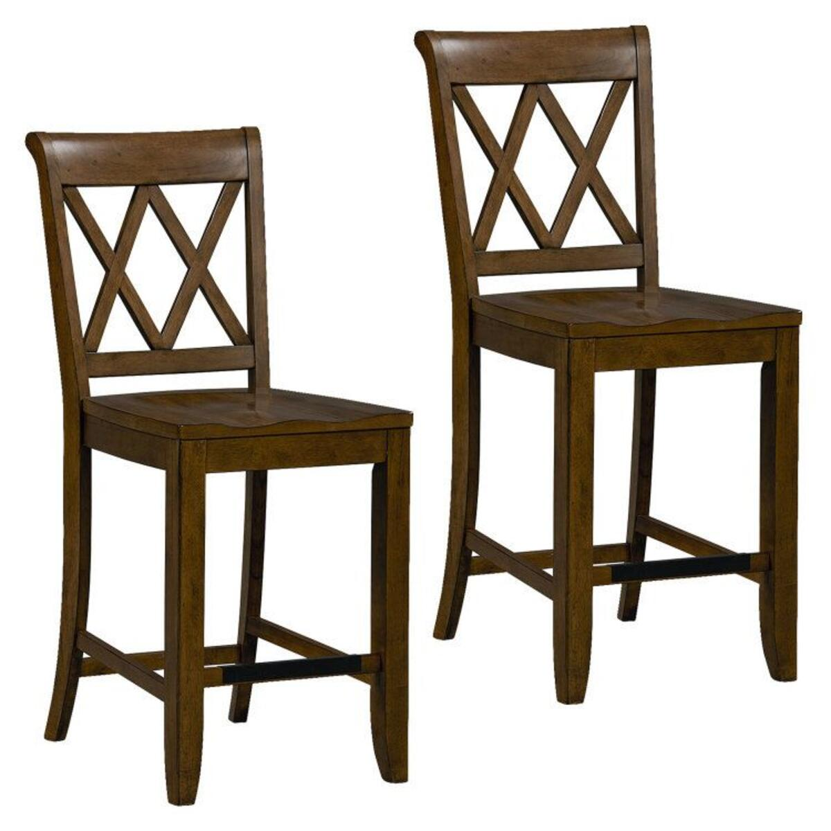 Vintage Distressed 2-Pack Brown Counter Height Stools