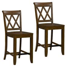 See Details - Vintage Distressed 2-Pack Brown Counter Height Stools
