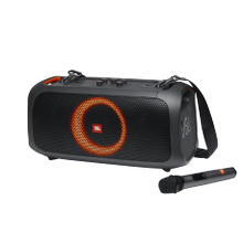 See Details - JBL PartyBox On-The-Go Portable party speaker with built-in lights and wireless mic