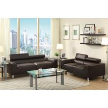 Agnes 2pcs Loveseat & Sofa Set, Espresso-bonded-leather