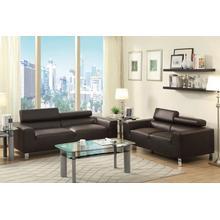 Agnes 2pcs Loveseat & Sofa Set, Espresso-bonded-leather