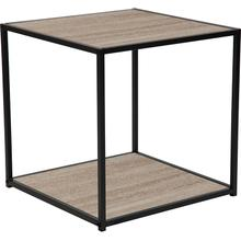 View Product - Midtown Collection Sonoma Oak Wood Grain Finish End Table with Black Metal Frame