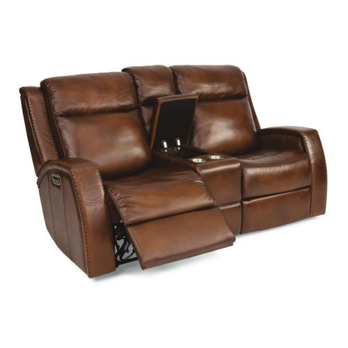 Flexsteel - Mustang Power Reclining Loveseat with Console and Power Headrests